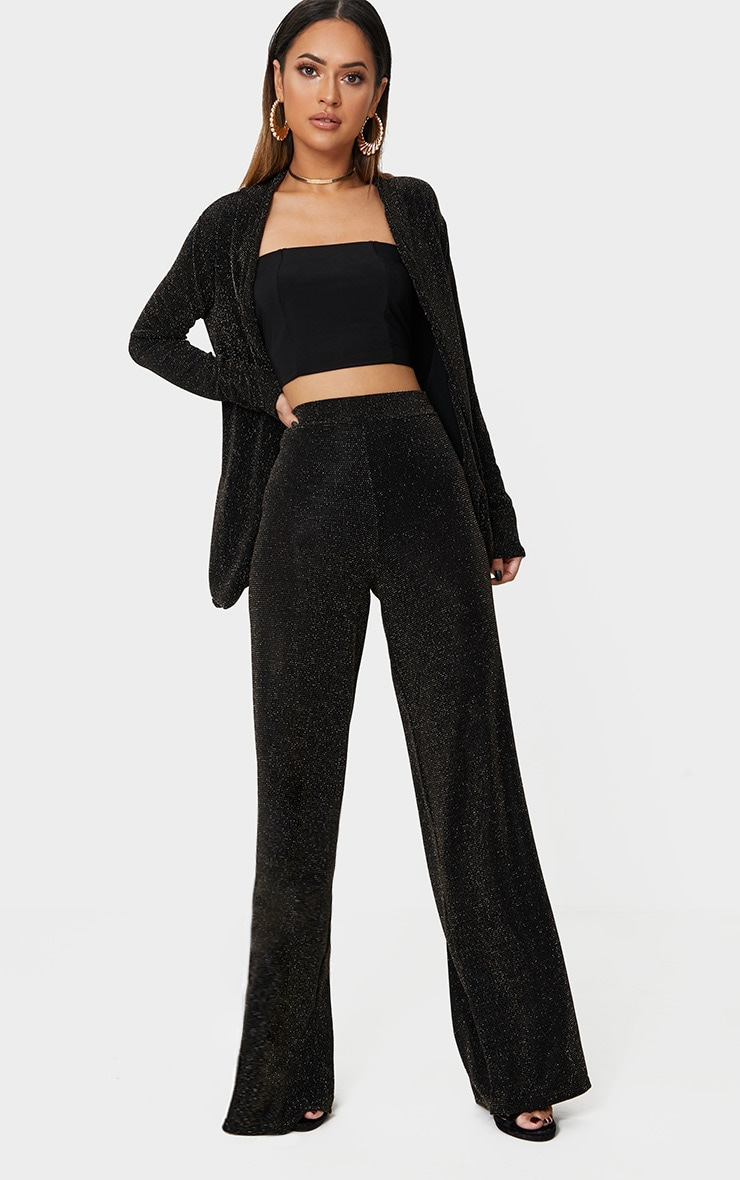 Black Glitter Wide Leg Trousers  1