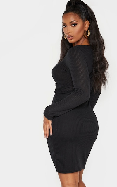 Shape Black Knit Cut Out Ruched Front Midi Dress