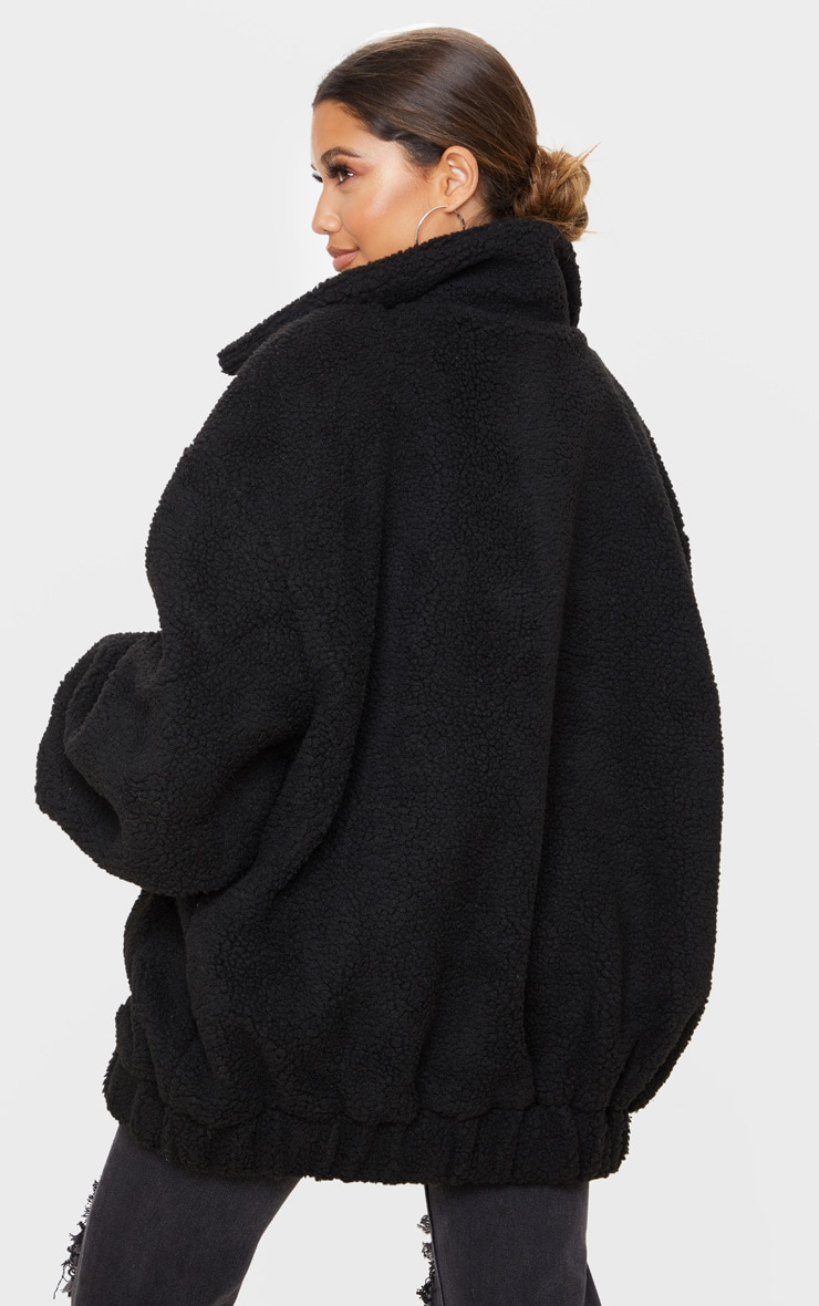 Black Oversized Borg Pocket Front Coat 2