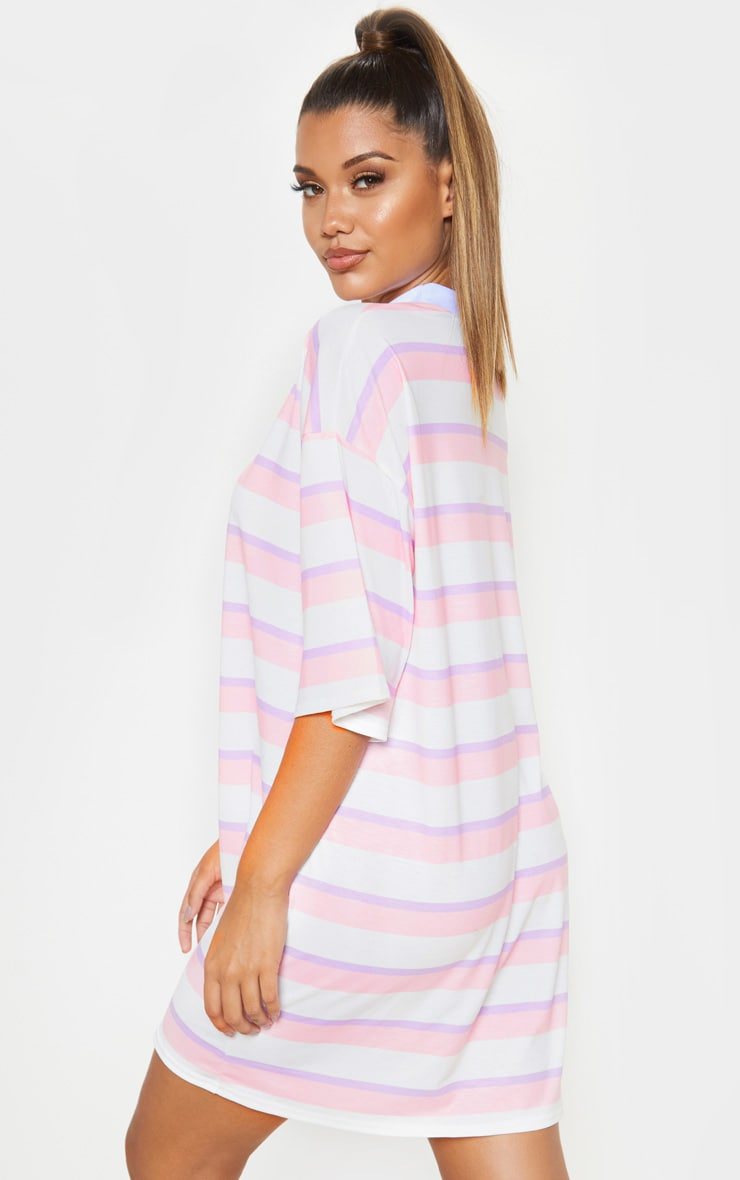Baby Pink Stripe Oversized Boyfriend T Shirt Dress 4