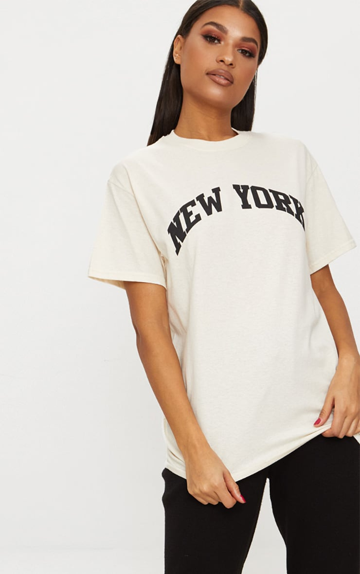 Sand NY Slogan Oversized T Shirt Pretty Little Thing N2MS2
