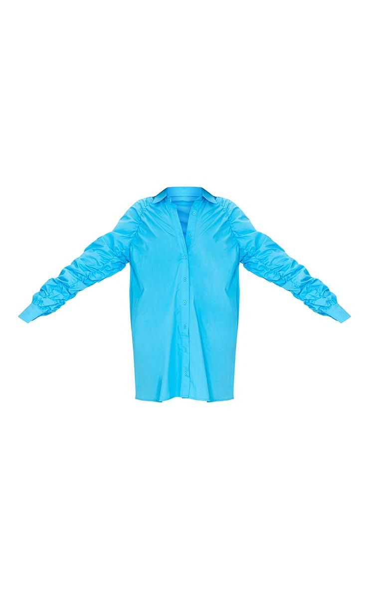 Blue Ruched Sleeve Detail Oversized Shirt Dress 5
