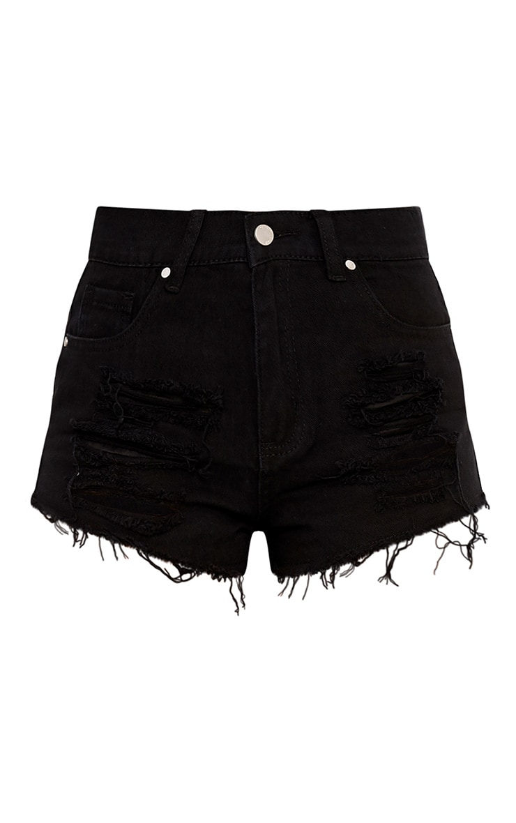 Black Ripped Denim Hot Pants 3