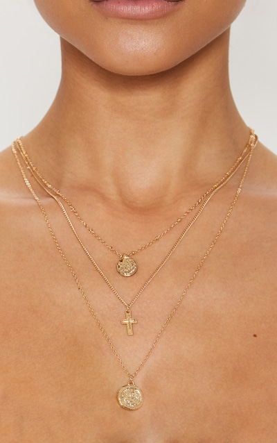 Gold Renaissance Mini Coin Cross Layered Necklace