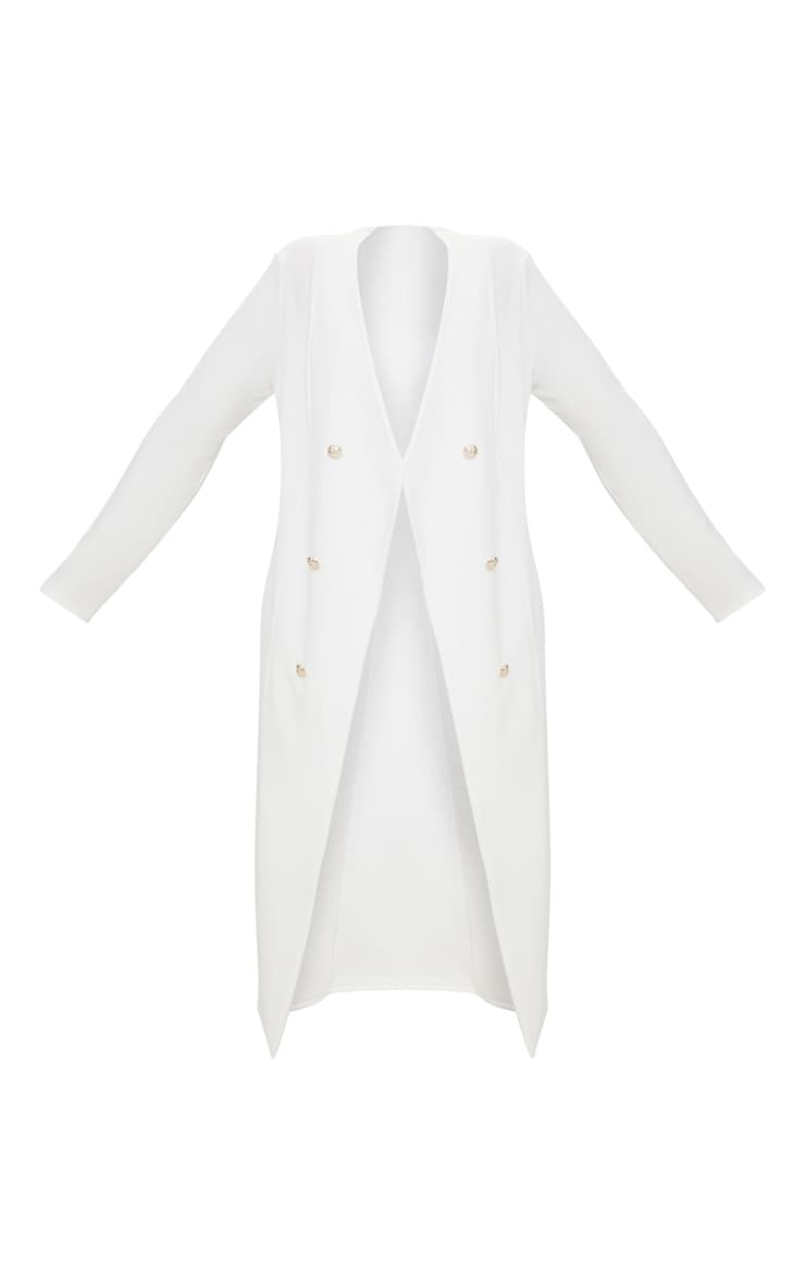 Plus White Military Button Detail Duster Coat 3