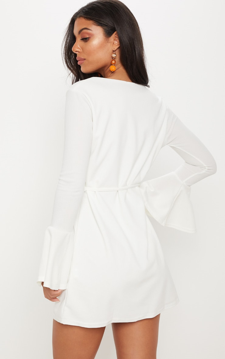 White Flared Sleeve Tie Detail Shift Dress 2