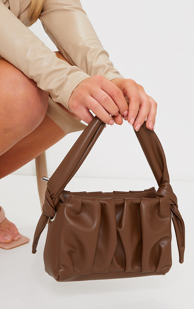 Chocolate Pleated Front Shoulder Bag image 1