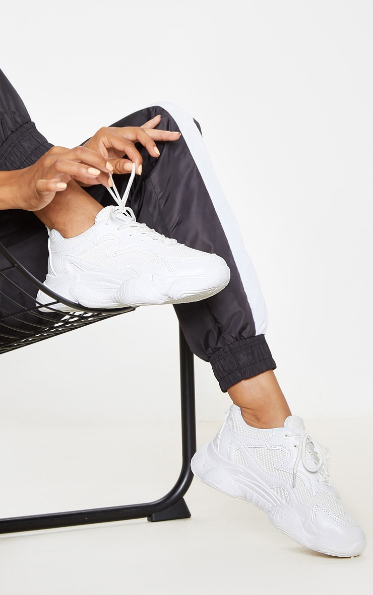 White Bubble Sole Lace Up Sneakers 1