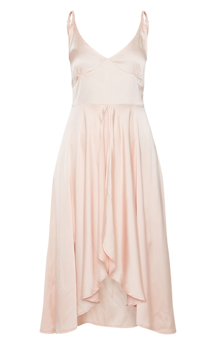 Blush Satin Strappy Layered Skater Midi Dress 3