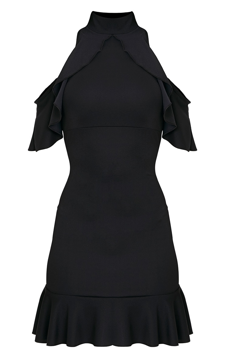Adley Black Frill Detail Crepe Bodycon Dress 3