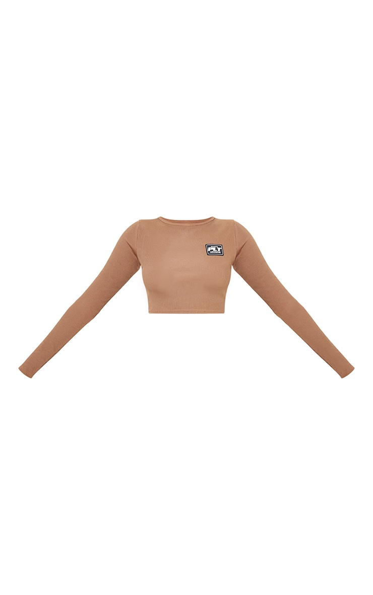 PRETTYLITTLETHING Chocolate Rubber Badge Rib Long Sleeve Top 5