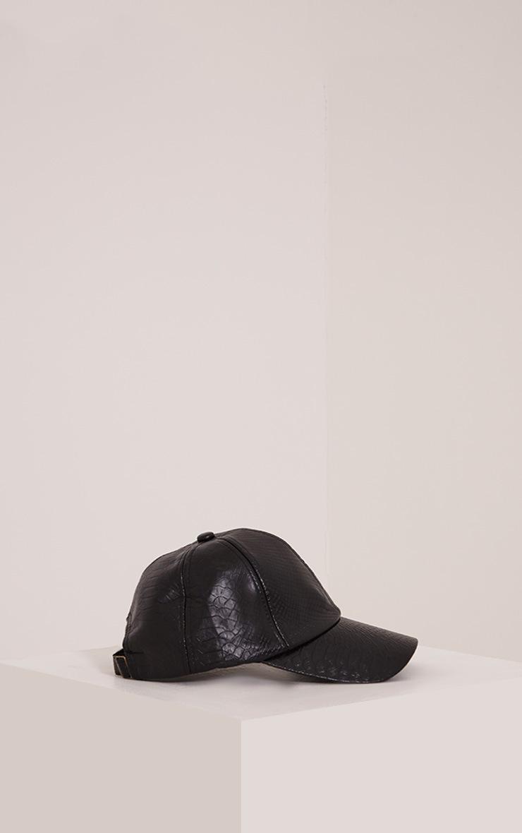 Verah Black PU Textured Baseball Cap 4