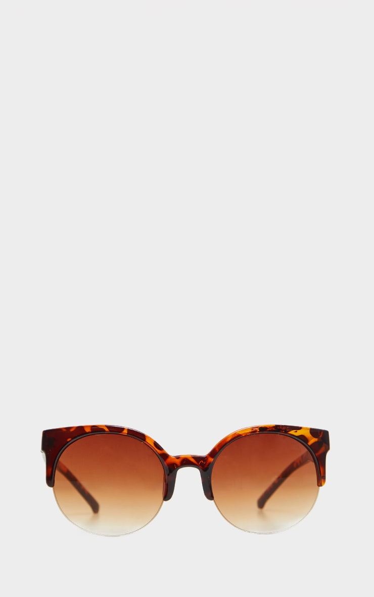 Brown Semi Frameless Animal Print Sunglasses 2