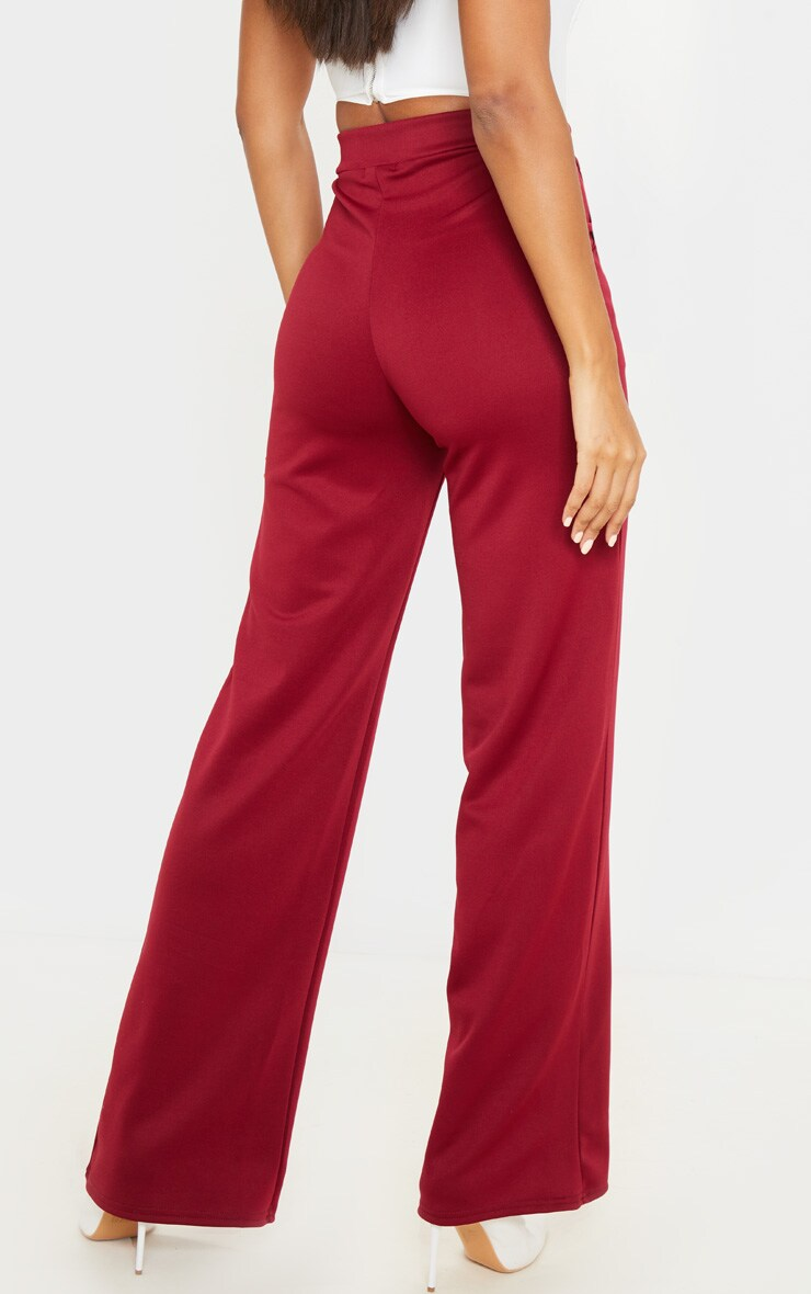 Wine Scuba Contrast Panel Wide Leg Pants 4