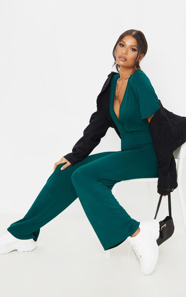 Emerald Green Wrap Front Short Sleeve Jumpsuit 4
