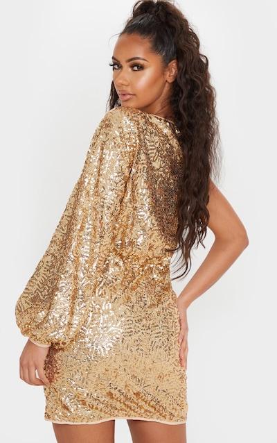 Gold Sequin One Shoulder Balloon Sleeve Shift Dress