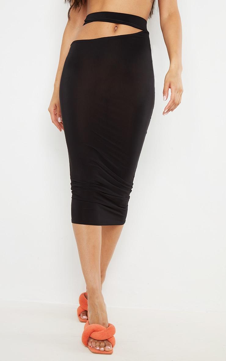 Black Slinky Cut Out Waist Detail Midi Skirt 2