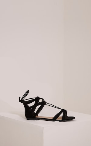 Lauri Black Faux Suede Lace Up Sandals