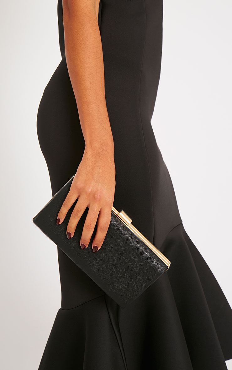 Jeanie Black Gold Frame Clutch Bag 2