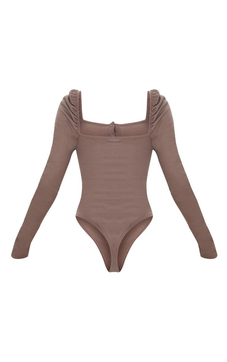 Mocha Rib Puff Long Sleeve Bodysuit 5