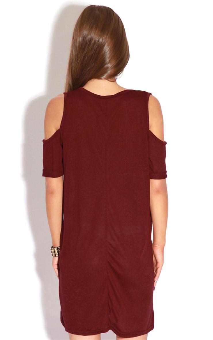 Mahlee Burgundy Cut Out Shoulder Dress-S/M 4