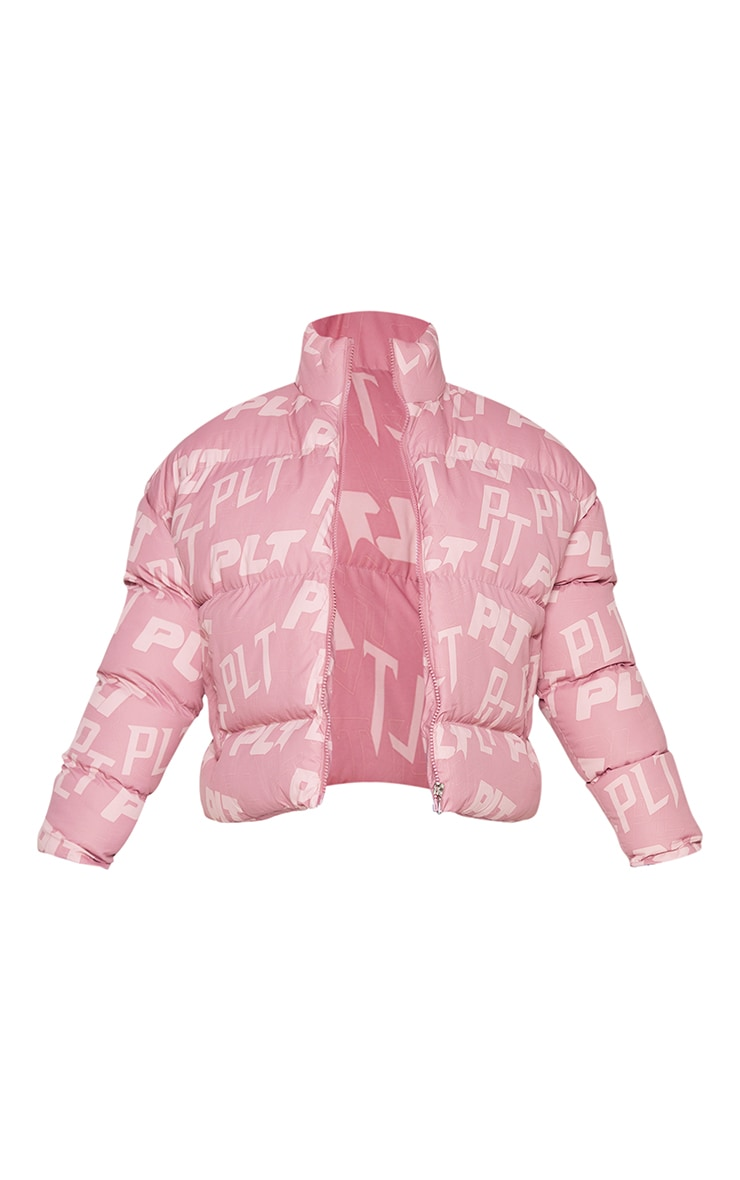 PRETTYLITTLETHING Petite Pink Printed Cropped Puffer 5