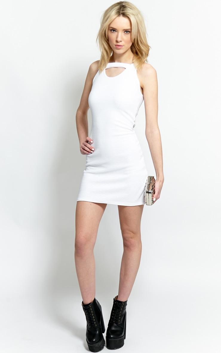 Briony White Ribbed Bodycon Dress 4