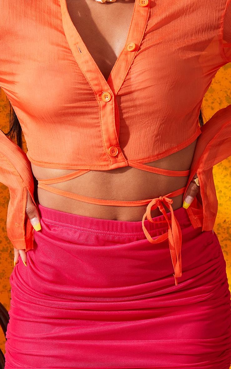 Orange Chiffon Tie Waist Crop Shirt 5