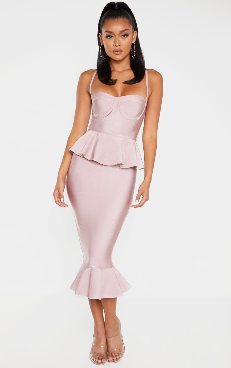 Dusty Lilac Strappy Peplum Frill Hem Bandage Midi Dress 1