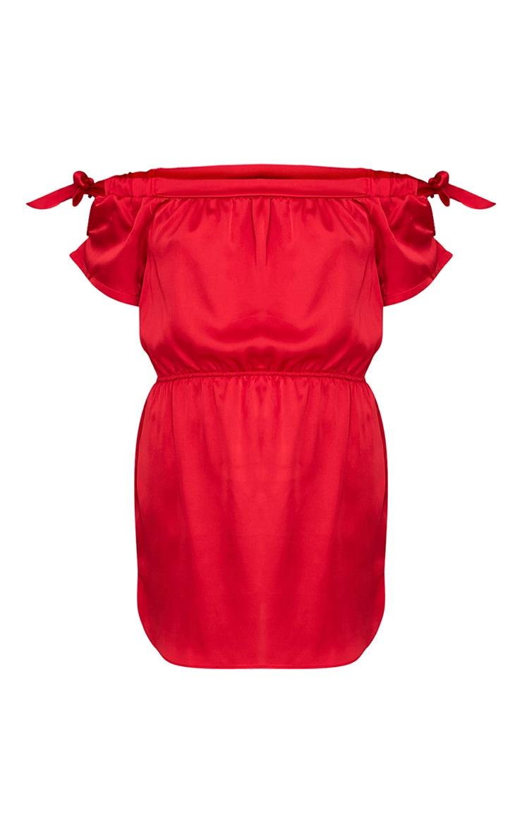 Marshie Red Silky Ruched Waist Bardot Shift Dress 3