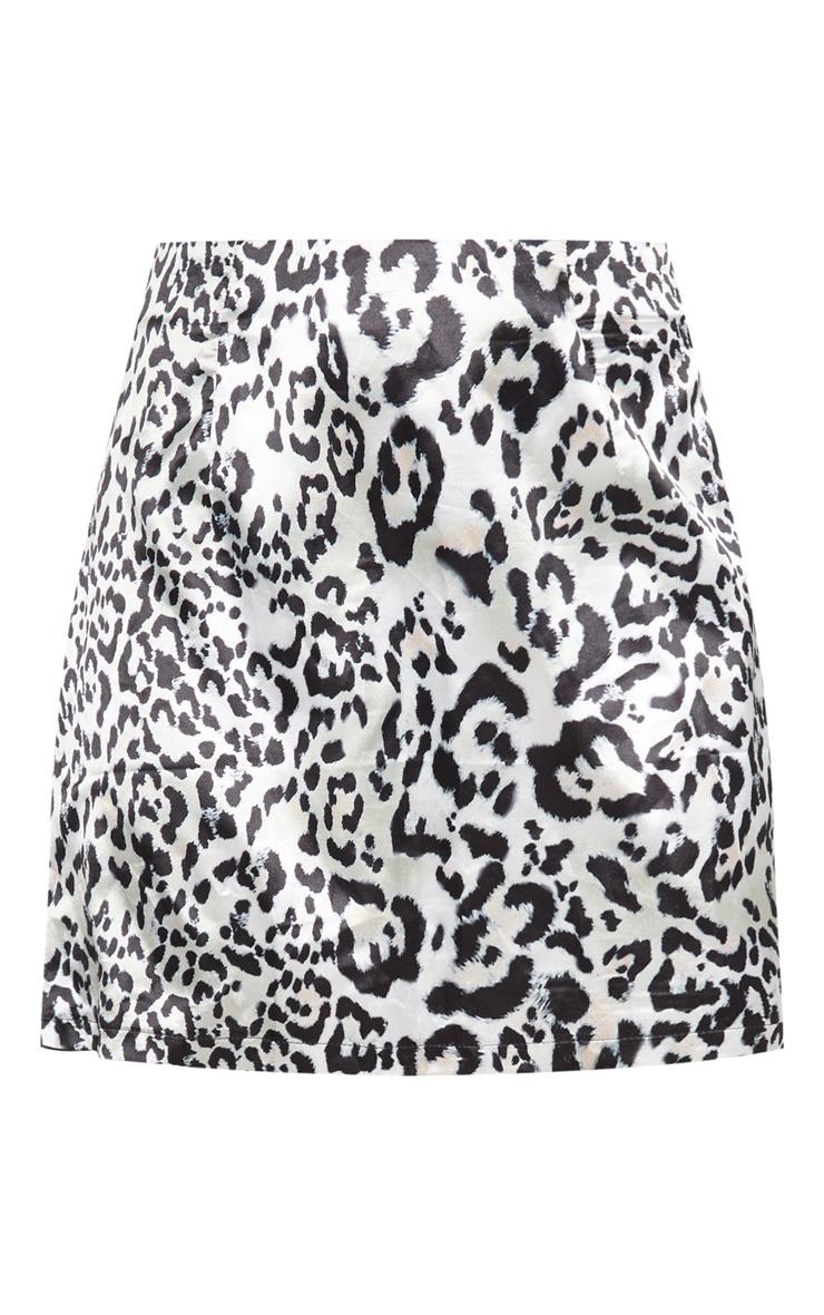 Leopard Print A Line Satin Mini Skirt 3