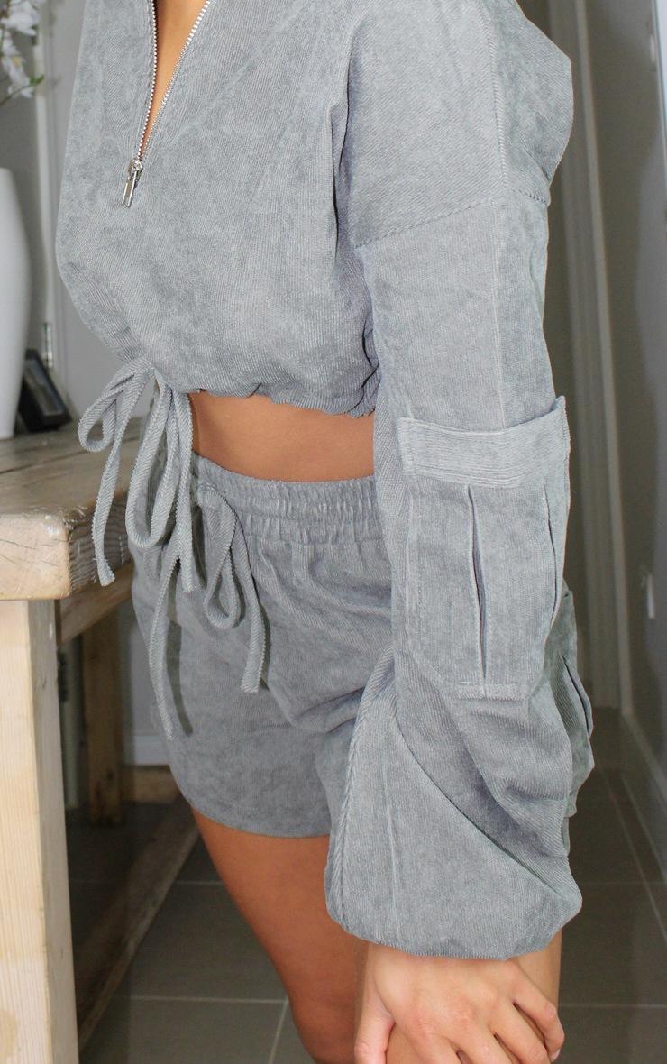 Petite Grey Light Weight Cord Half Zip Long Sleeve Pullover 4