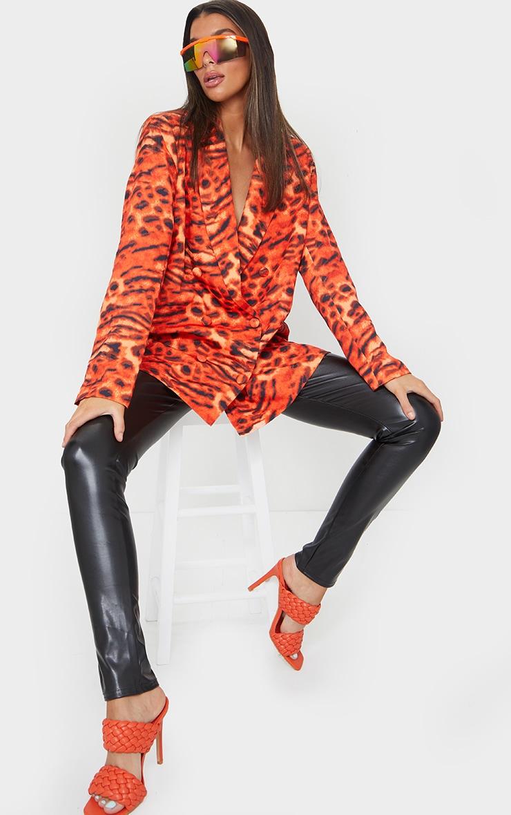 Orange Woven Triple Breasted Oversized Blazer 1