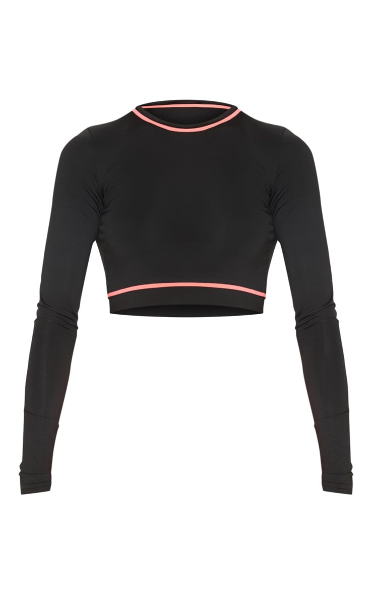 Black Long Sleeve Contrast Piping Gym Top 3