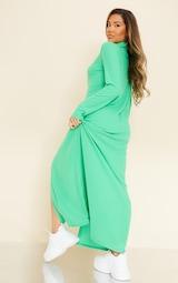 Green Brushed Rib Button Up Collar Detail Maxi Dress 2