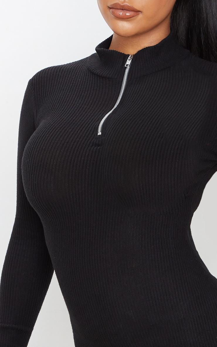 Black Brushed Rib Long Sleeve Zip Front Bodycon Dress 5
