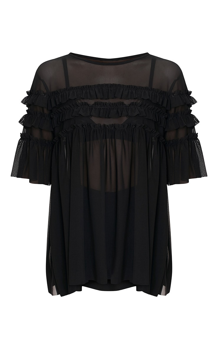 Eloisa Black Mesh Frill Detail T Shirt 3