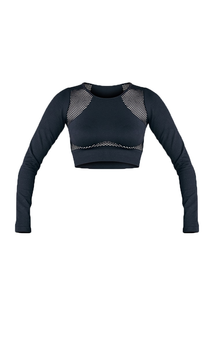 Black Cut Out Seamless Long Sleeve Top 4