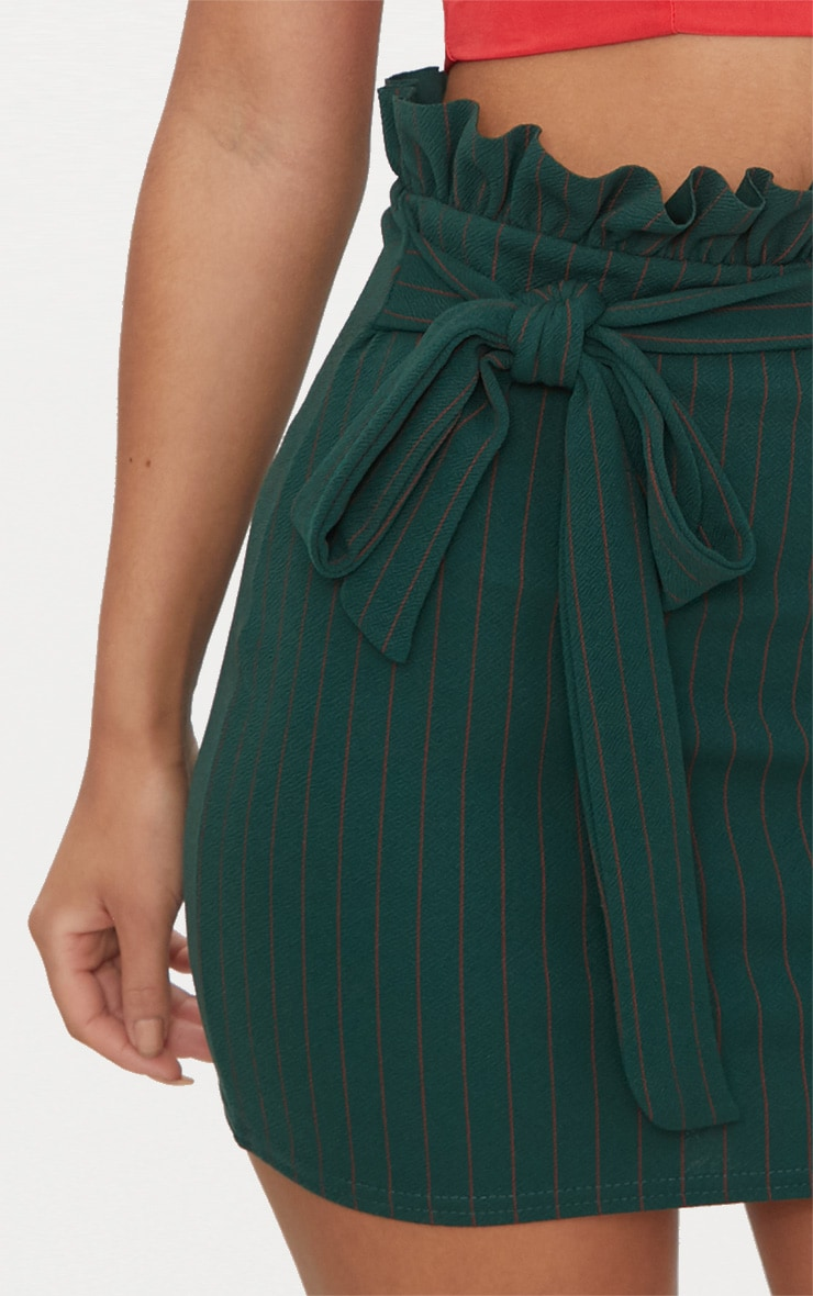 Emerald Green Pinstripe Paperbag Mini Skirt  6