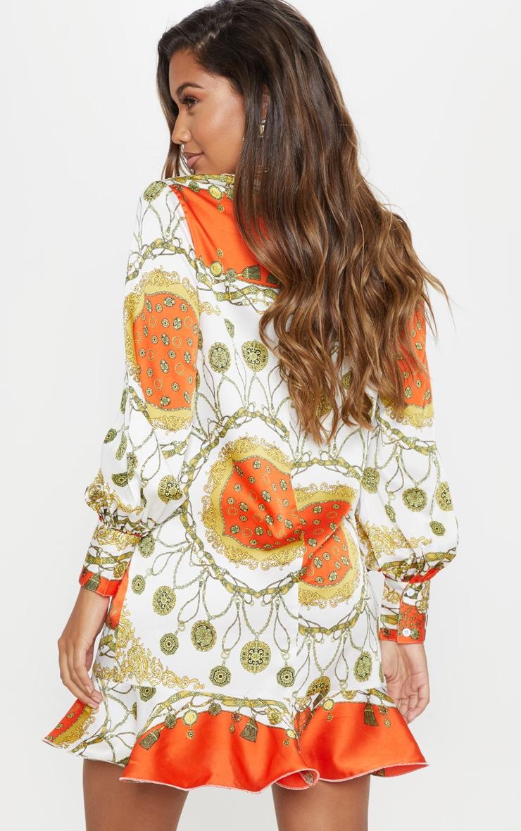 Orange Chain Print Frill Hem Shirt Dress 2
