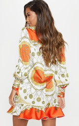 5aaf1f9ec0d Orange Chain Print Frill Hem Shirt Dress image 2