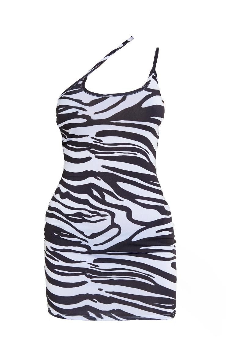 Black Zebra Print Slinky Asymmetric Strap Detail Bodycon Dress 5