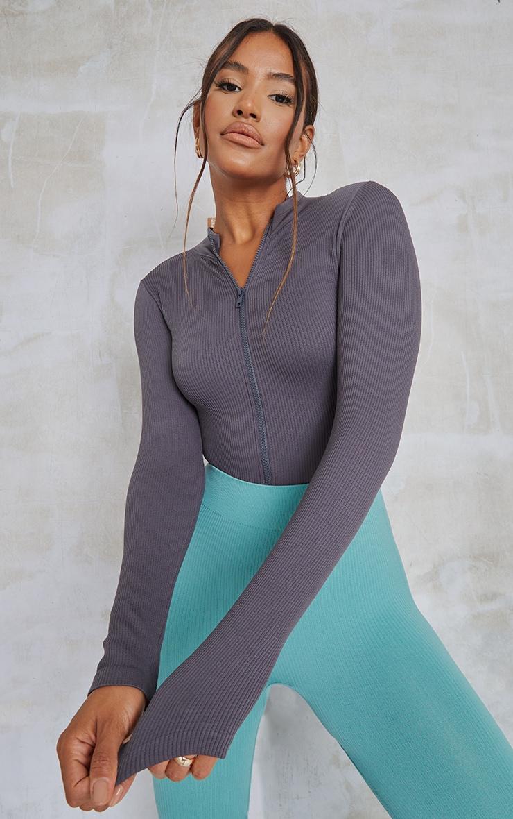Charcoal Contour Rib Zip Up Long Sleeve Bodysuit 1
