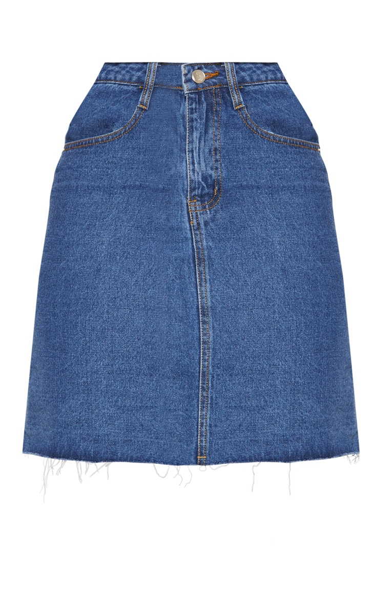 Tall Mid Wash High Waisted Denim Skirt 3