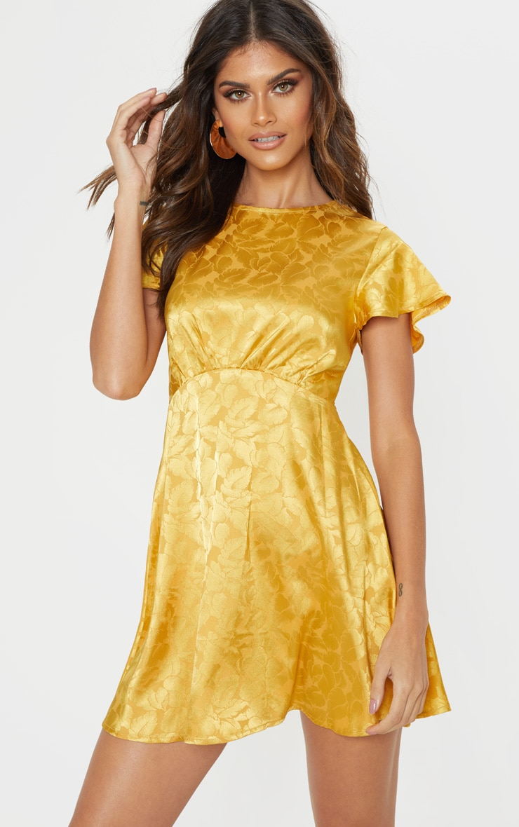 Mustard Floral Jacquard Ruched Top Skater Dress 1