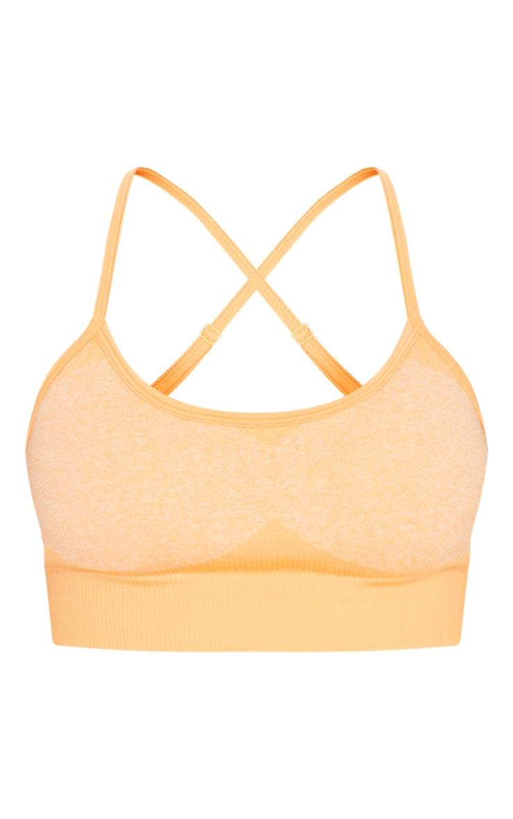 Orange Seamless Longline Sports Bra Top 3