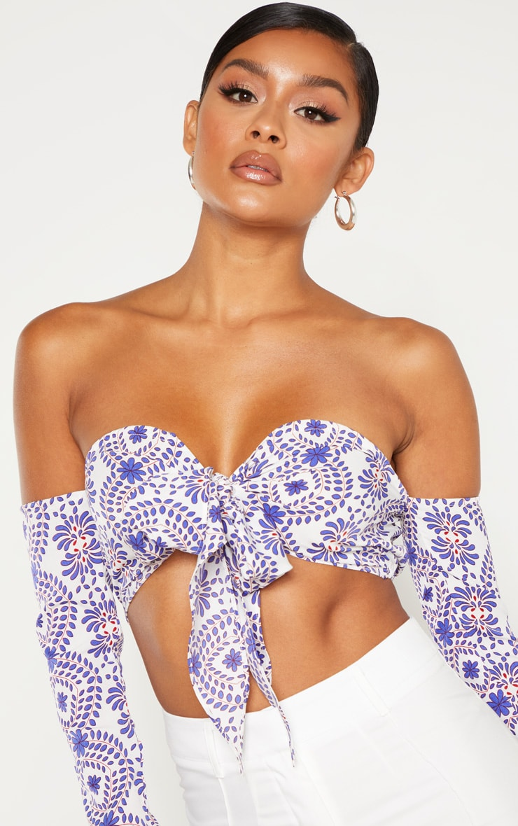 Blue Paisley Printed Bardot Tie Front Long Sleeve Crop Top 5
