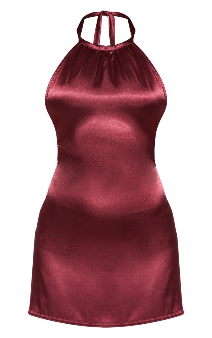 Petite Burgundy Halterneck Double Split Satin Mini Dress  3