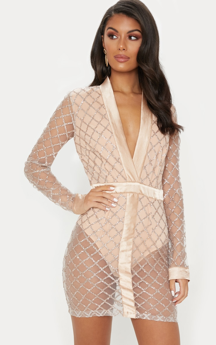 Rose Gold Criss Cross Glitter Mesh Bodycon Dress