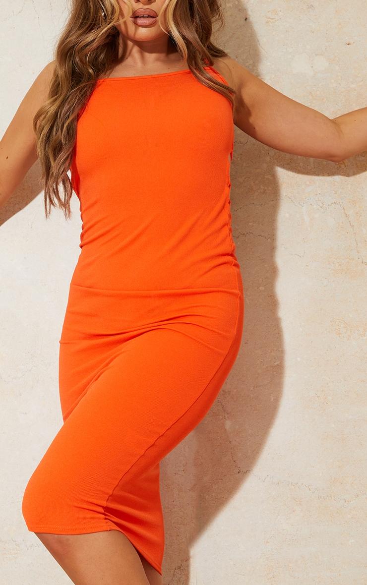 Orange Ribbed Double Tie Open Back Midi Dress 4